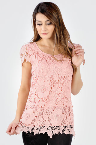 7150 Blush Floral Crochet Short Sleeve Top