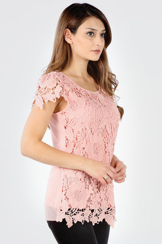 7150X Plus Blush Floral Crochet Short Sleeve Top