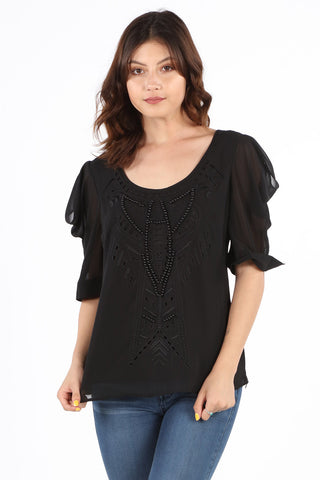 8409X Plus Black Beaded Fancy Blouse