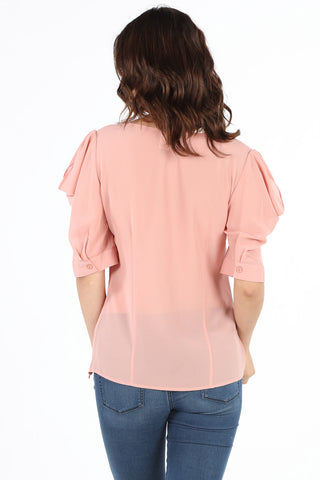 8409X Plus Blush Beaded Fancy Blouse