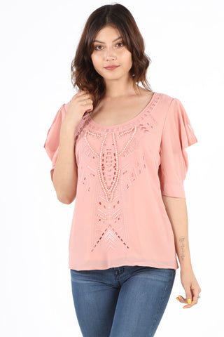 8409 Blush Beaded Fancy Blouse