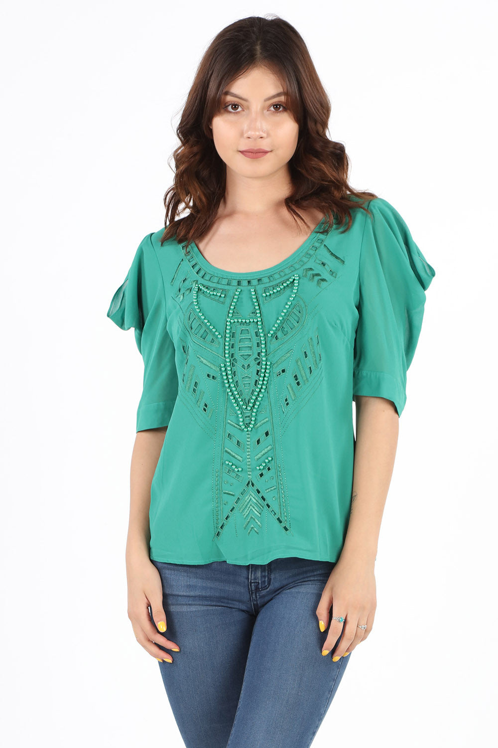8409X Plus Emerald Beaded Fancy Blouse