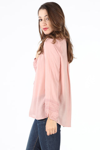 8511 Blush Crochet Trim Lace Up Blouse