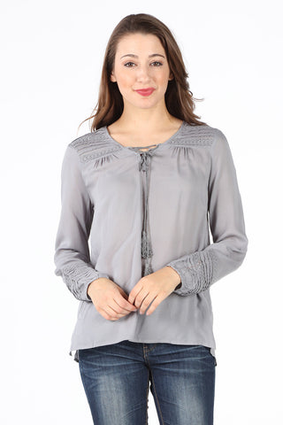 8511 Gray Crochet Trim Lace Up Blouse