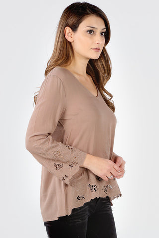 SB162 Mocha Floral Embroidered Cut Out Tunic