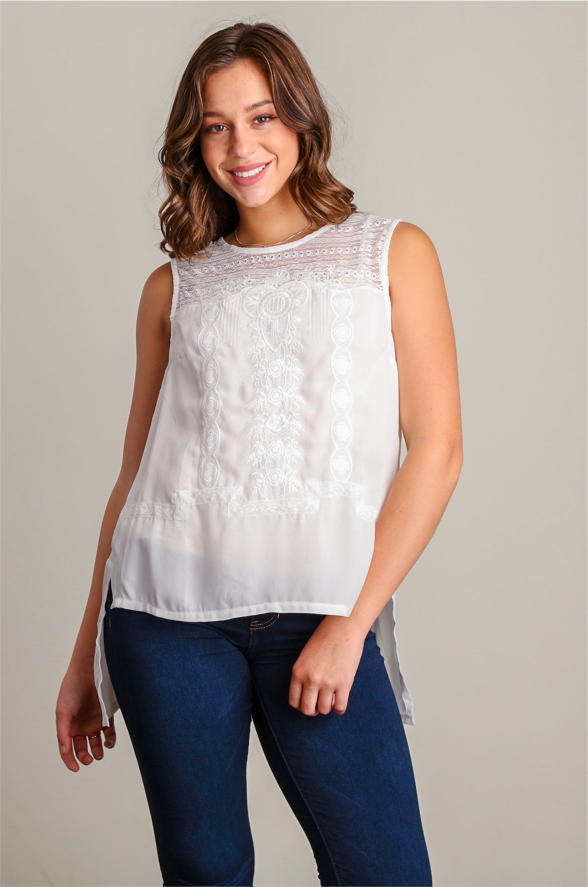 Ivory Embroidered Tuxedo Top