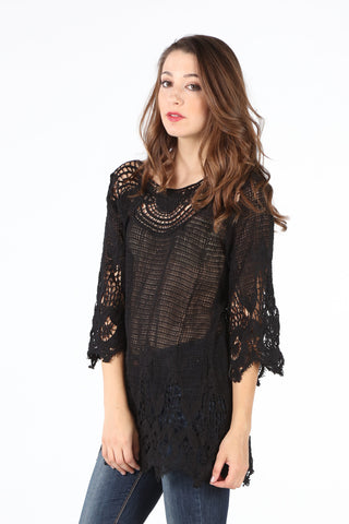 9185 Black Crochet Tunic