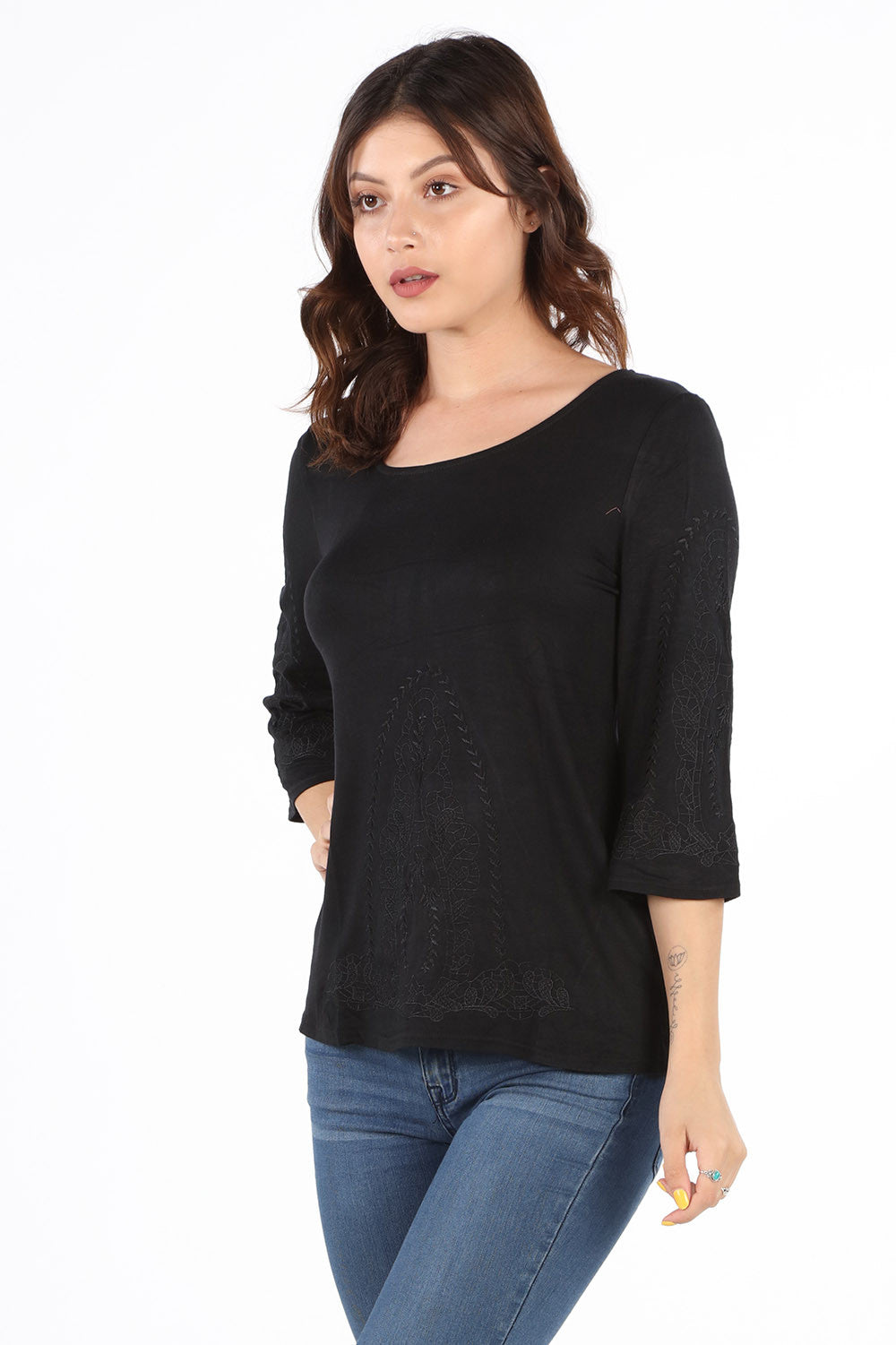 9399K Black Embroidered Blouse