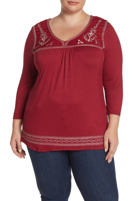 Embroidered Yoke Scoop Neck Blouse