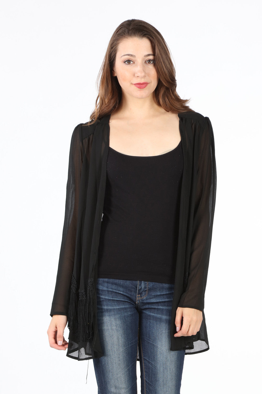 9630 Black Fringe Trim Cowboy Cardigan