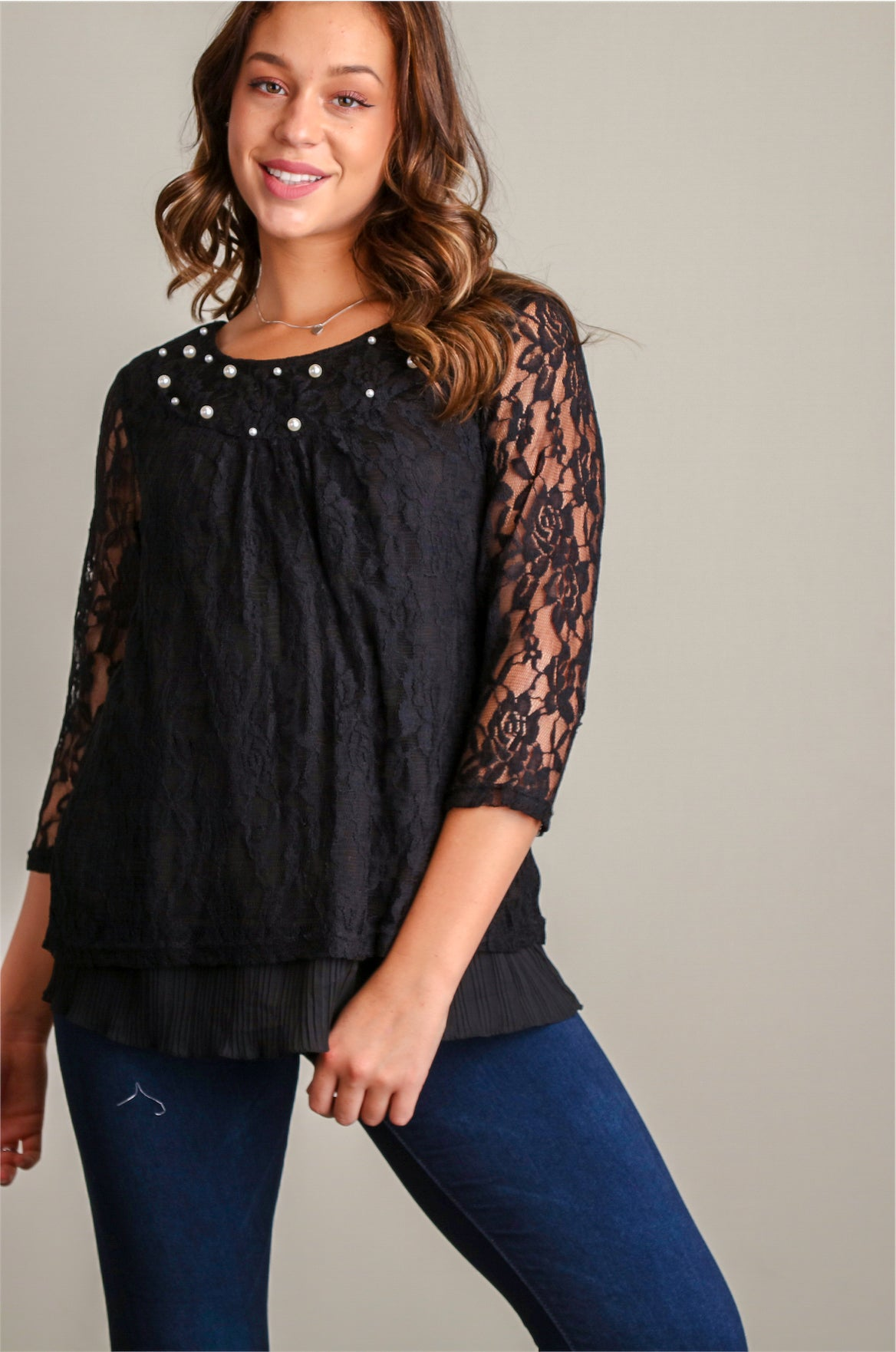 Black Lace and Pearl Dressy Blouse