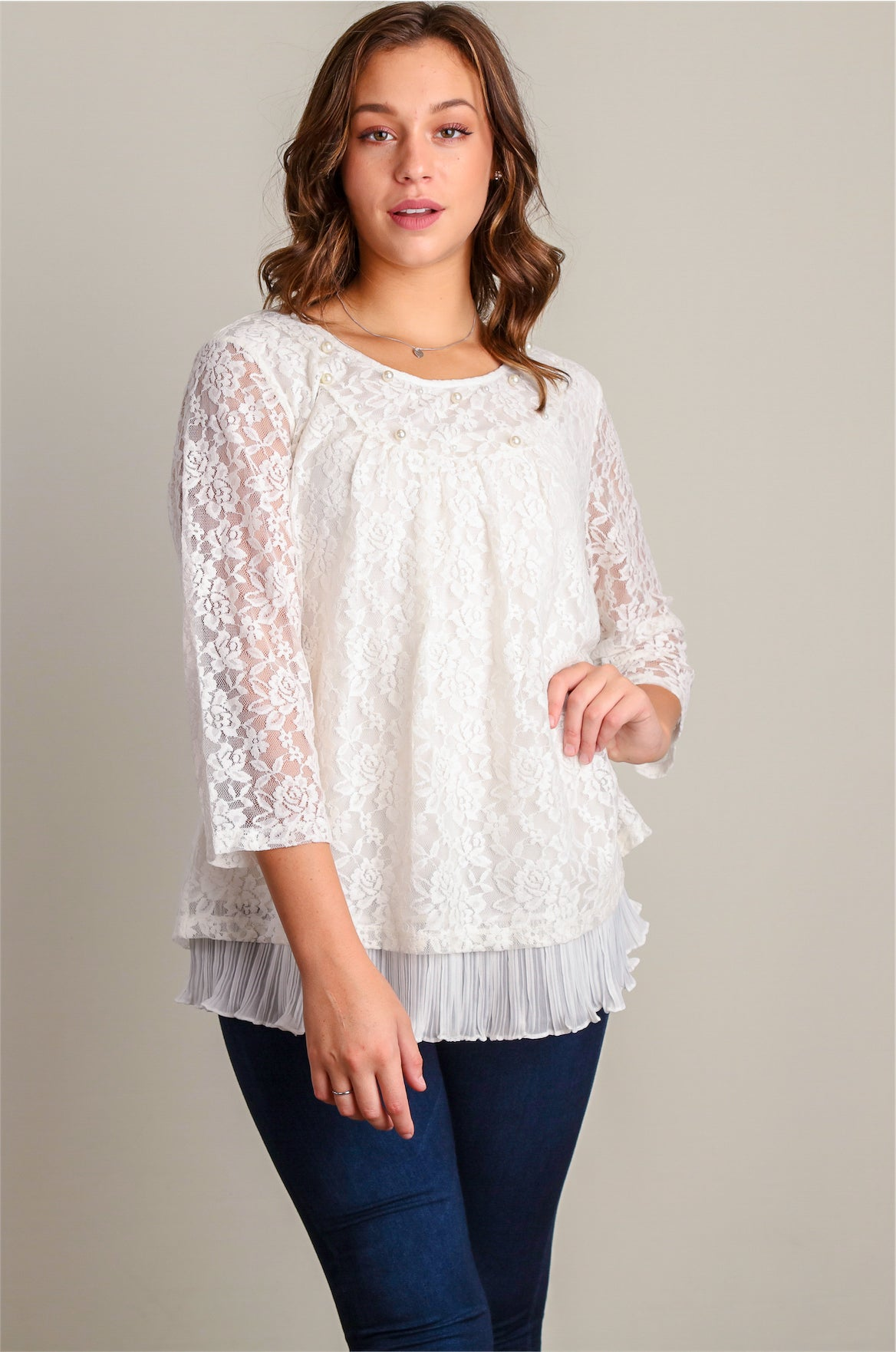 Plus White Lace and Pearl Dressy Blouse