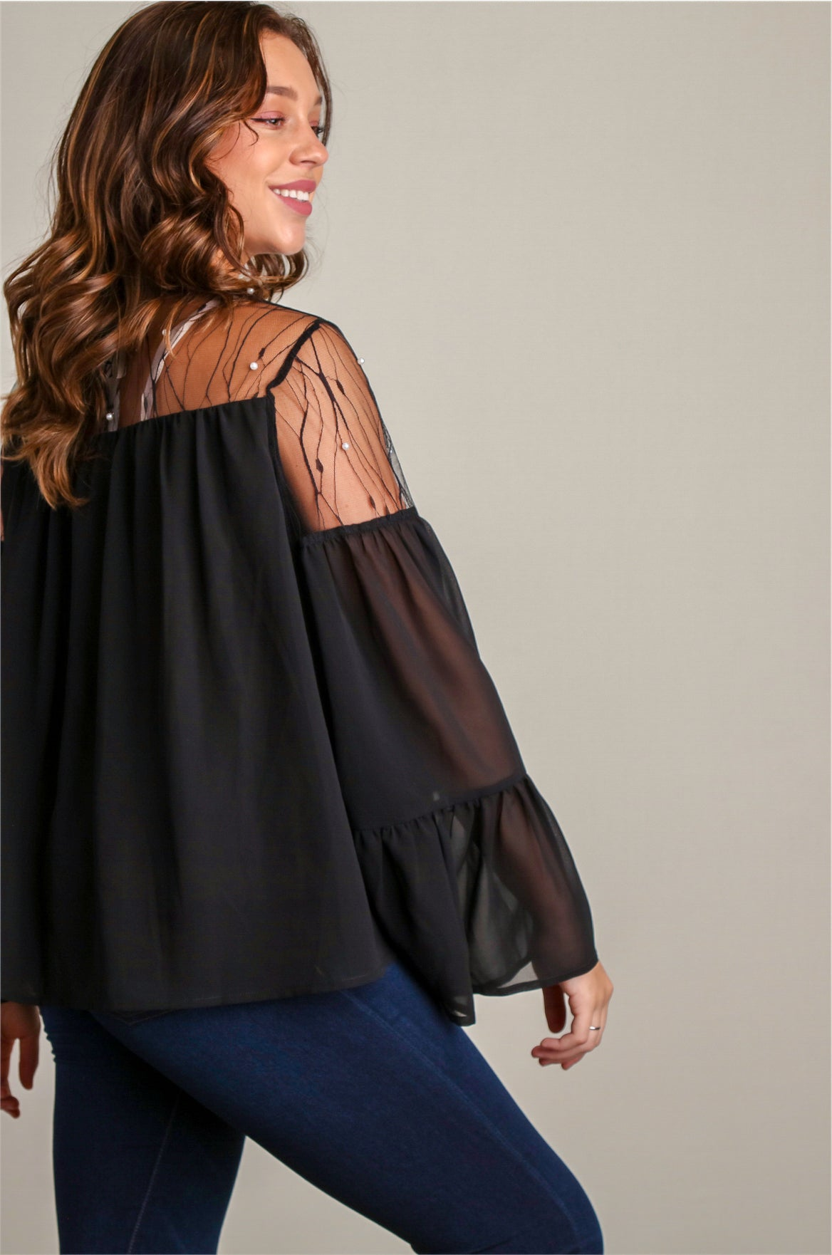 LIV1260 Black Bell Sleeve Lace & Pearls