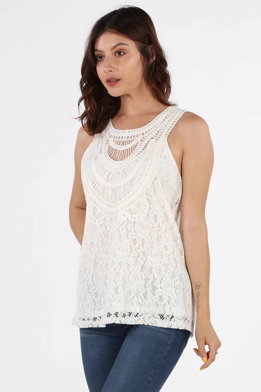 LIV807 White Crochet Blouse