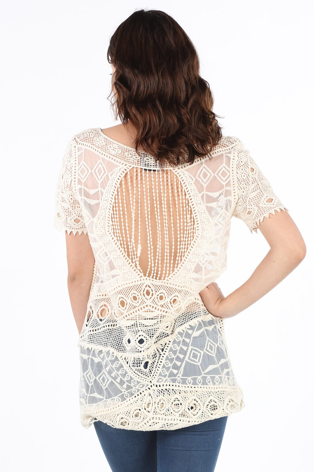 LIV879 Natural Crochet Tunic