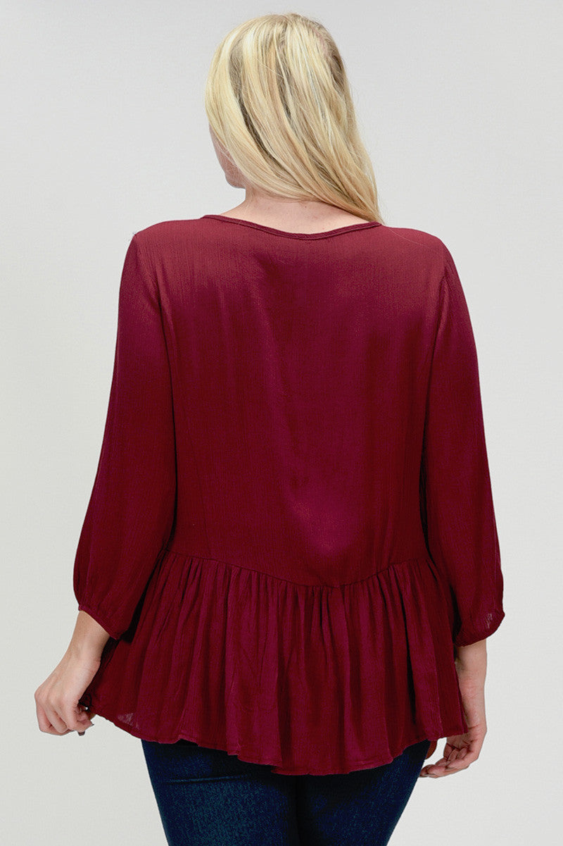 SB109X Plus Burgundy Floral Embroidered Peplum Blouse