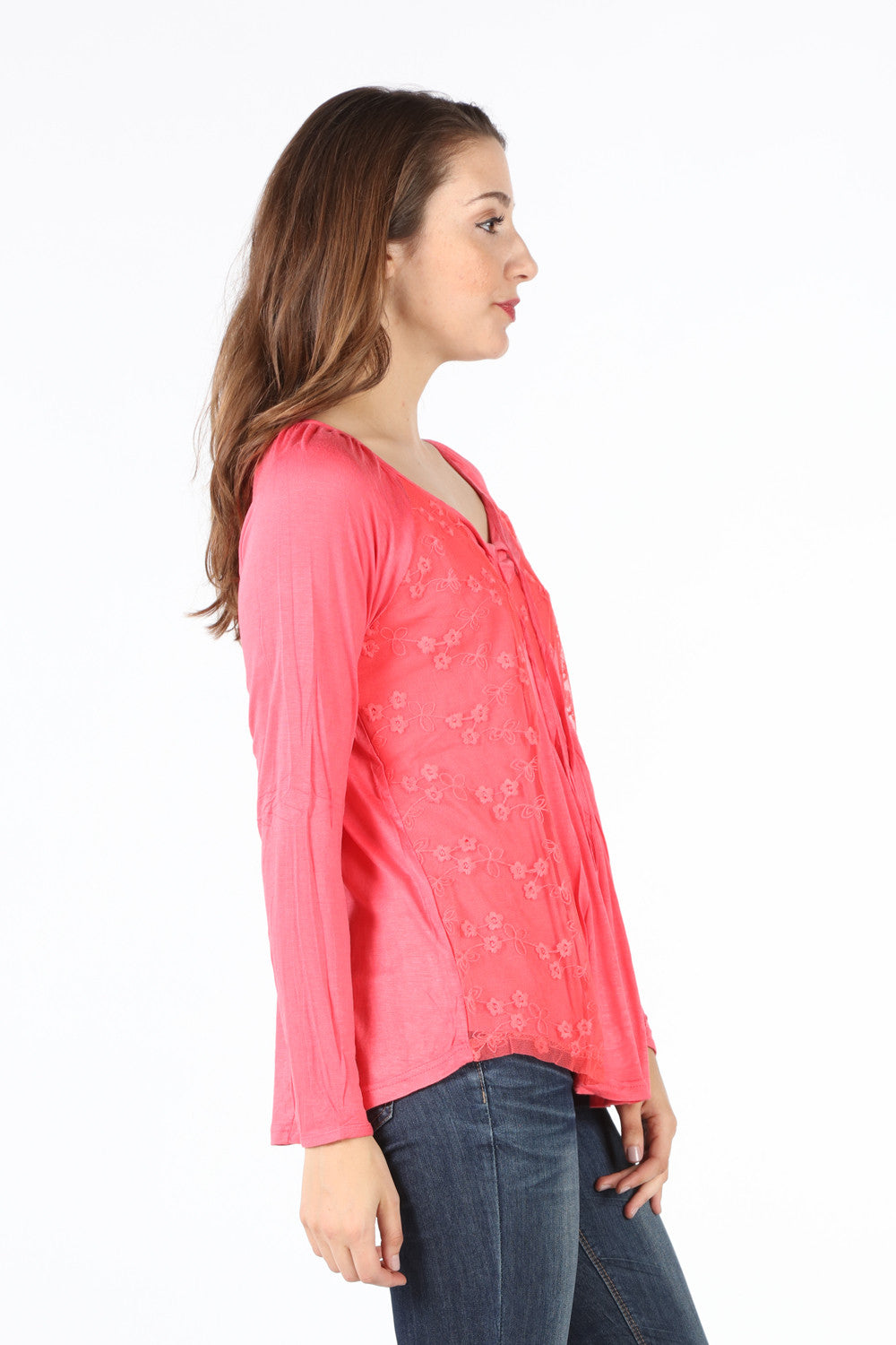 SB110A Dark Coral Lace Layered Blouse