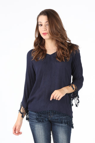 SB123 Navy Fringe Detail Tunic
