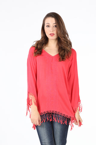 SB123 Red Fringe Detail Tunic
