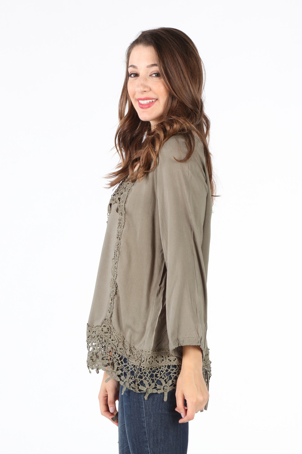 SB128 Olive Crochet Trim Blouse