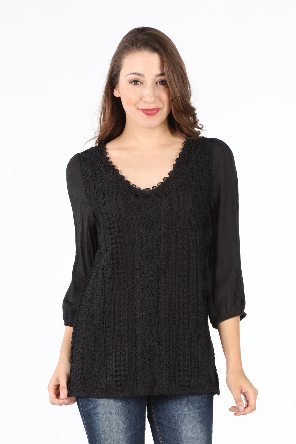 SB142 Black Front Crochet 3/4 Sleeve Blouse