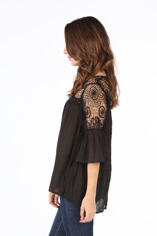 SB152 Black Crochet Upper Bell Sleeve Tunic