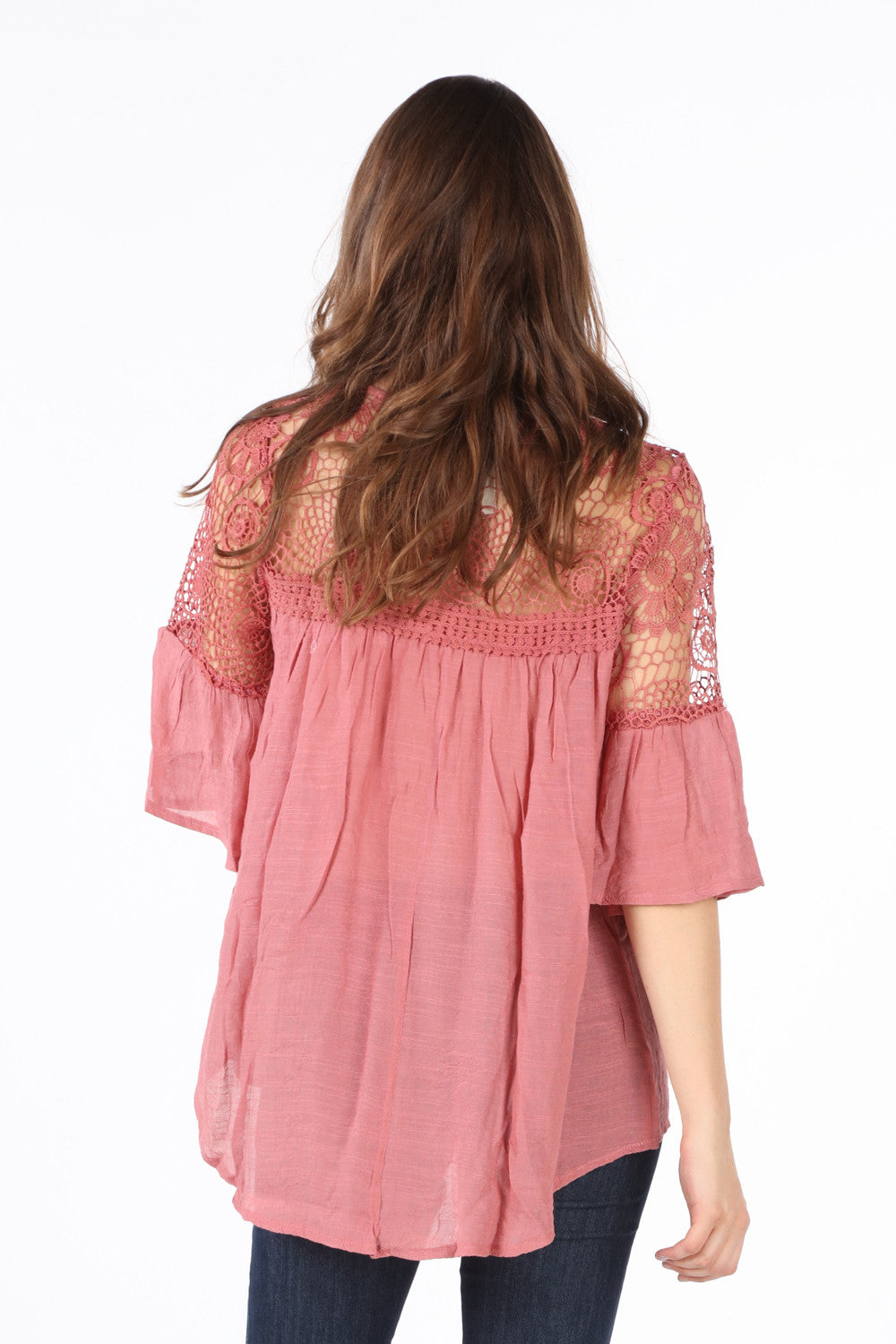 SB152 Blush Crochet Upper Bell Sleeve Tunic