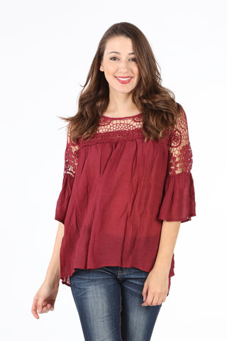 SB152 Burgundy Crochet Upper Bell Sleeve Tunic