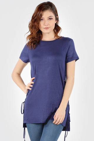 SB156 Navy Side Lace Up Tunic