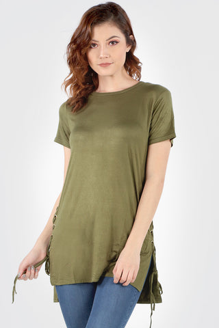 SB156 Olive Side Lace Up Tunic