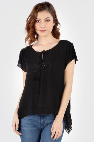 SB160 Black Crochet Flared Hem Tunic