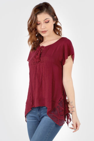 SB160 Burgundy Crochet Flared Hem Tunic