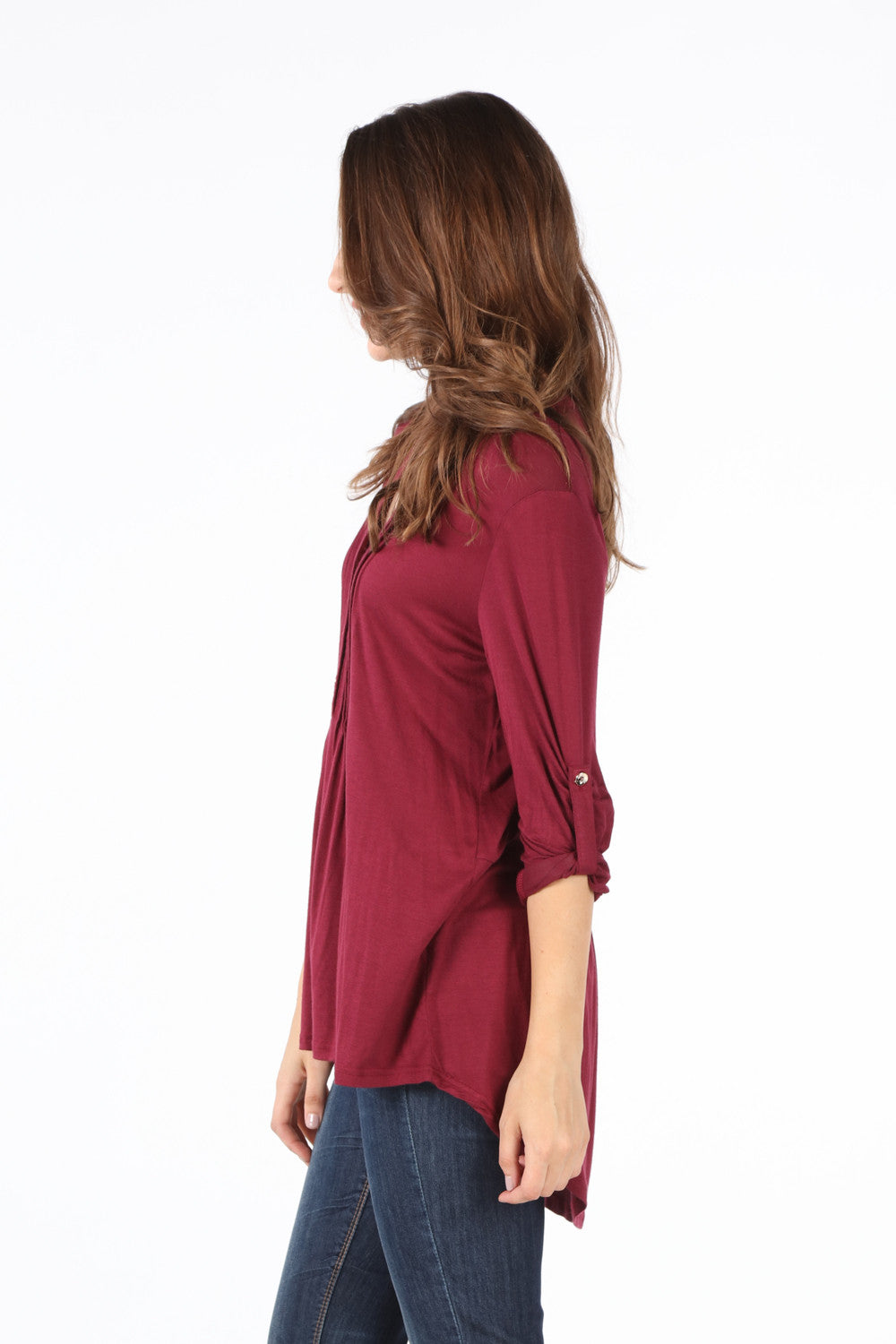 SB168B Burgundy Roll Tab Sleeve Placket Front Blouse
