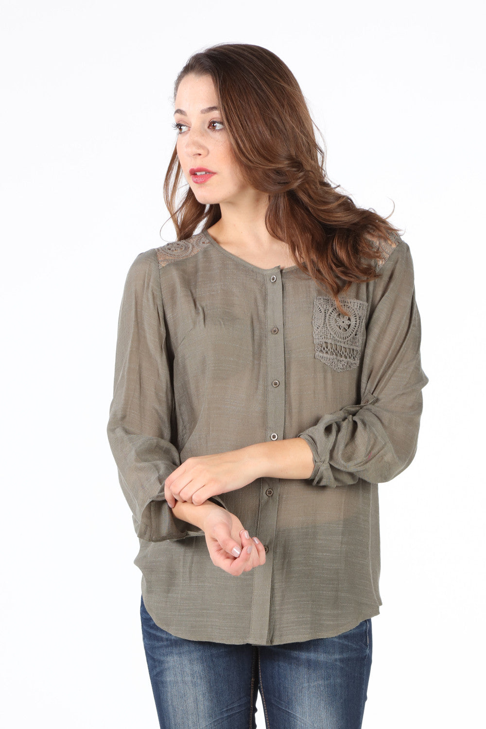 SB183 Olive Crochet Trim Blouse
