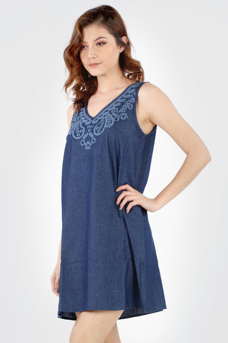 SB184 Denim Embroidered Tunic Dress