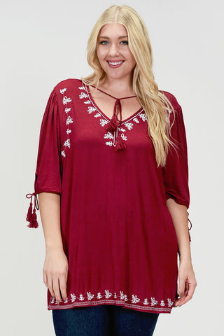 SB110AX Plus Red Lace Layered Blouse