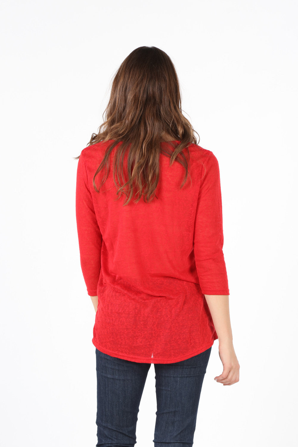 SB210A Red Crochet Front Lined Blouse