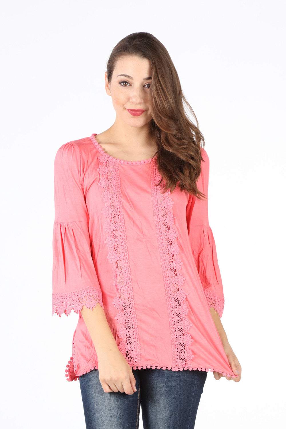 SB246K Coral Crochet Lined Blouse
