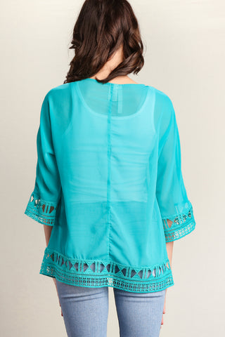 Jade Detailed Cut-out Blouse