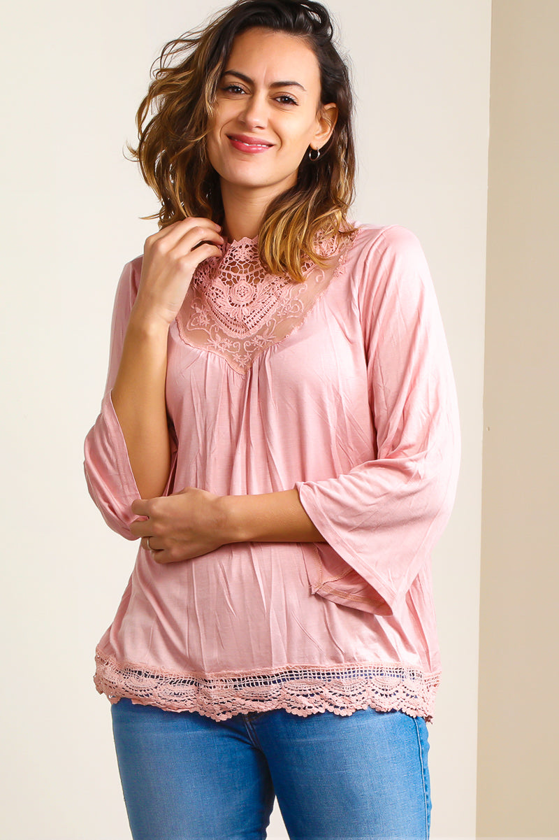 SB319K Dark Blush Victorian Lace Blouse