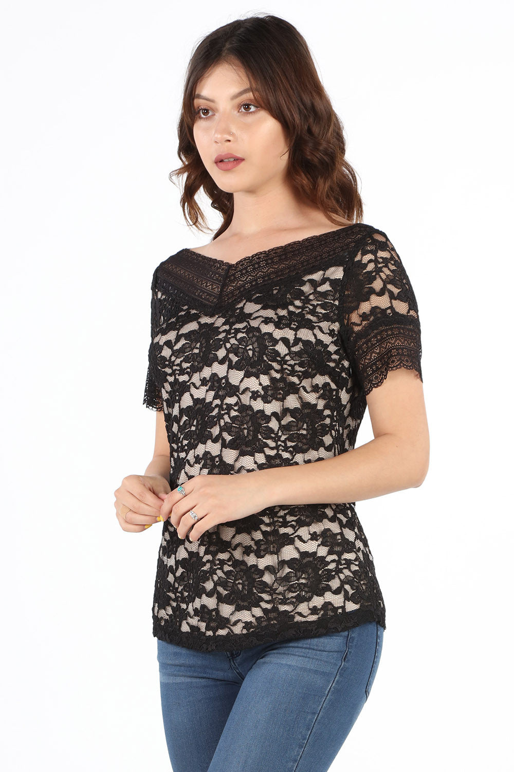 SB327-SS Black Stretch Lace Blouse