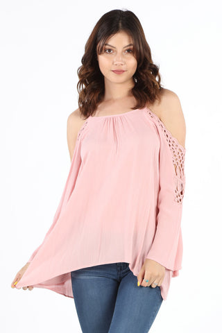 SB349 Blush Crochet Cold Shoulder Tunic