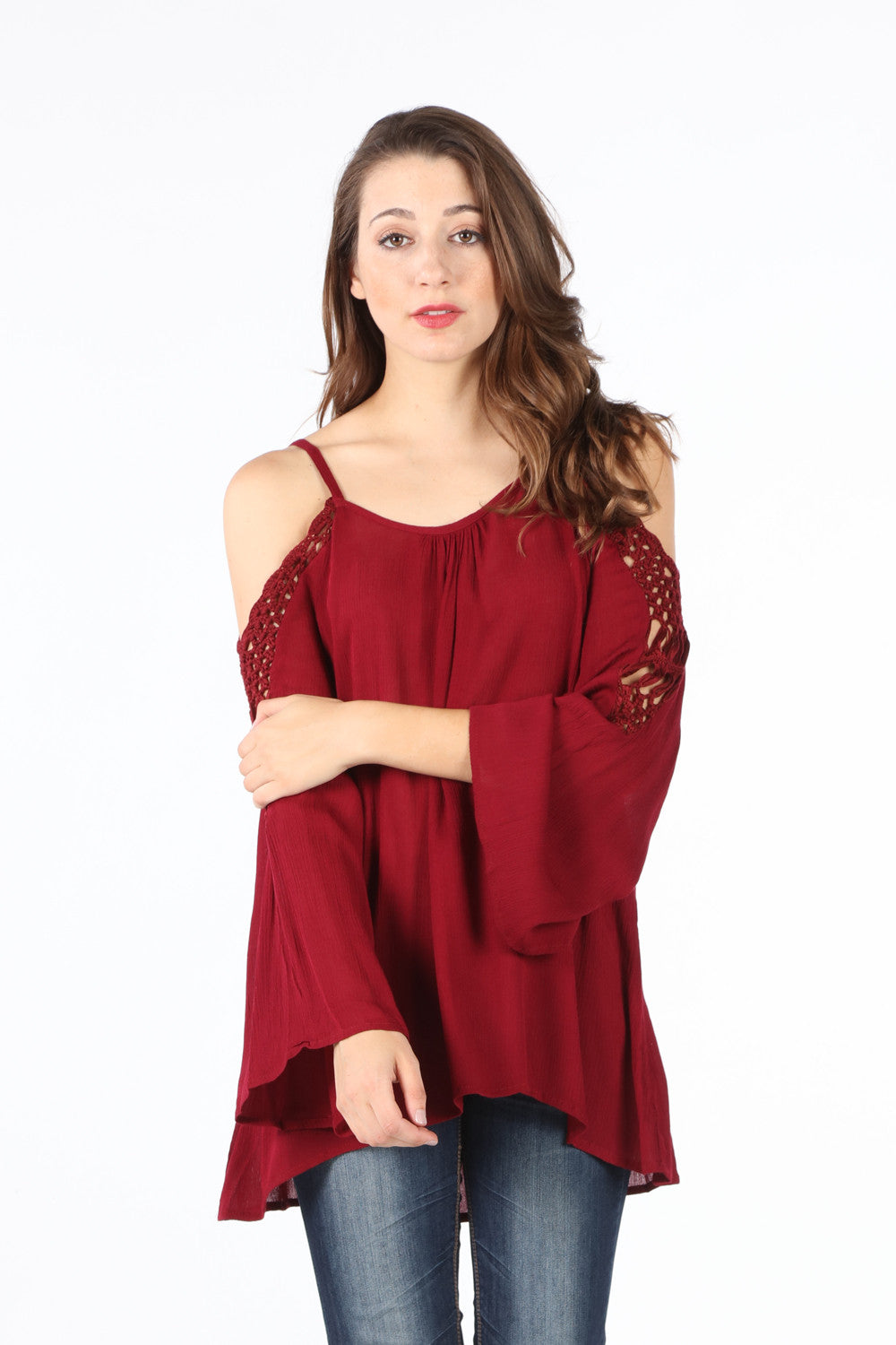 SB349 Burgundy Crochet Cold Shoulder Tunic