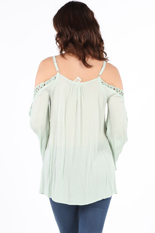 SB349 Mint Crochet Cold Shoulder Tunic