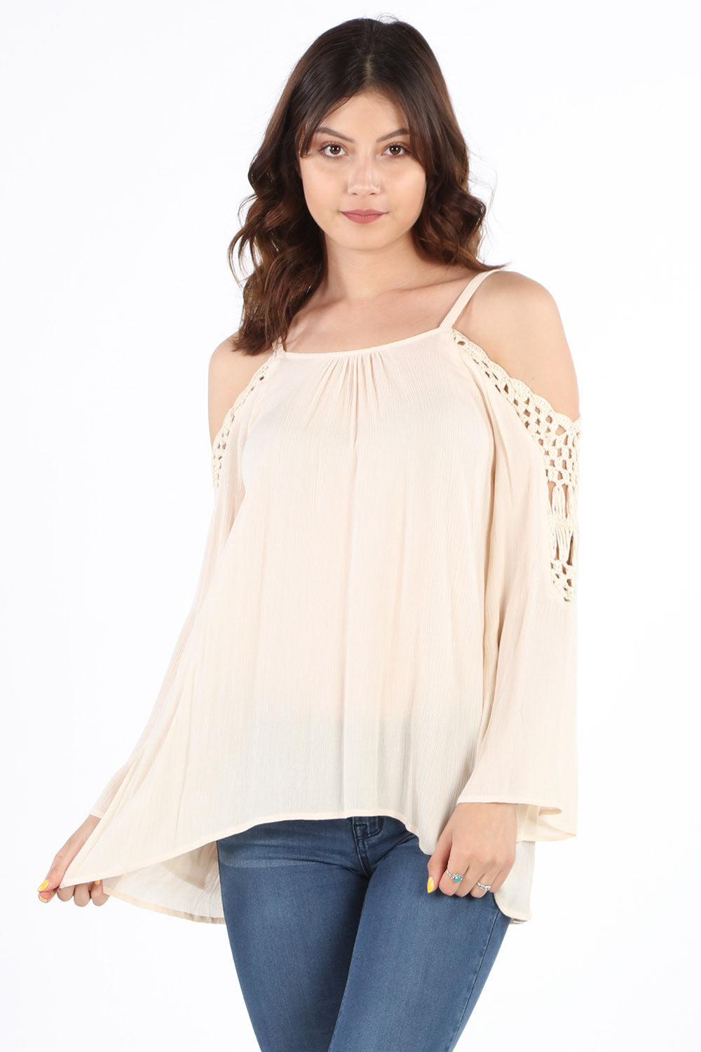SB349 Natural Crochet Cold Shoulder Tunic
