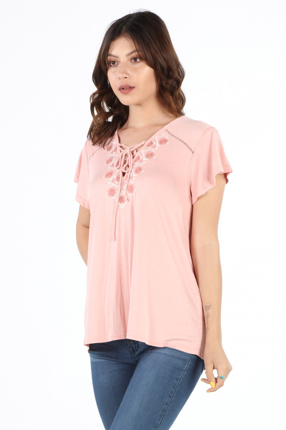 SB355 Blush Embroidered Lace Up Blouse
