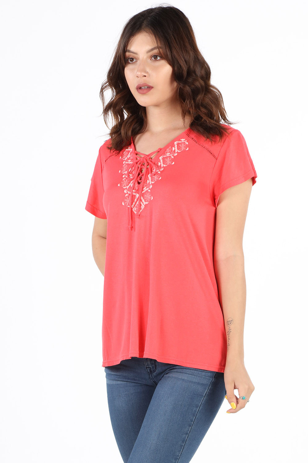 SB355 Coral Embroidered Lace Up Blouse