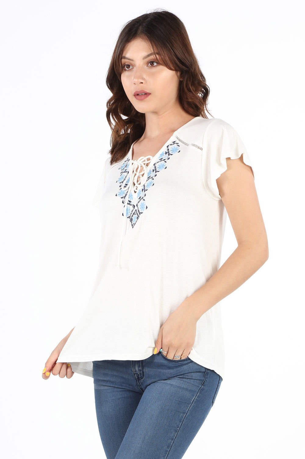 SB355 Ivory Embroidered Lace Up Blouse