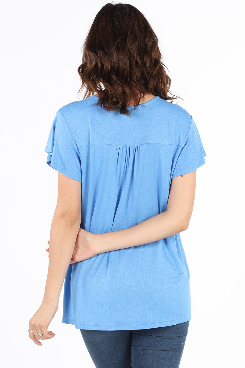 SB355 Sky Blue Embroidered Lace Up Blouse