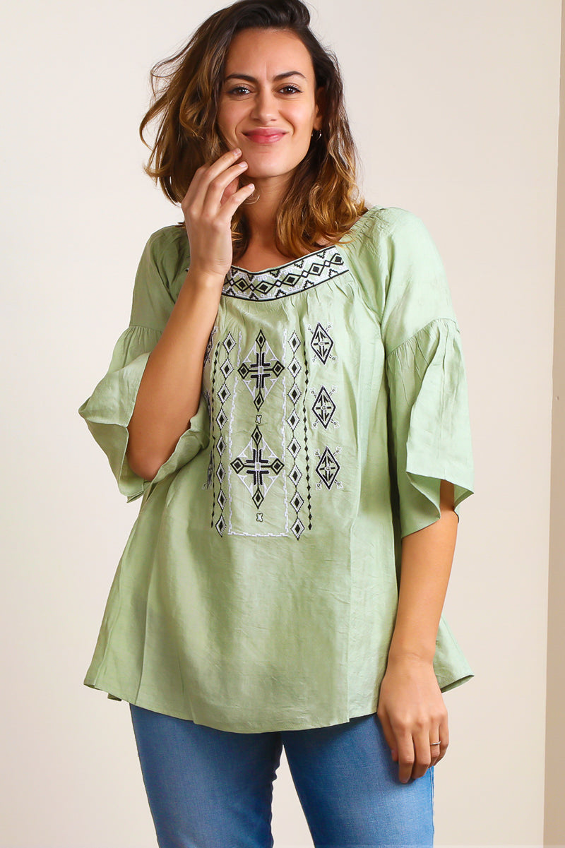 SB393X Plus Dusty Sage Boho Embroidered Tunic